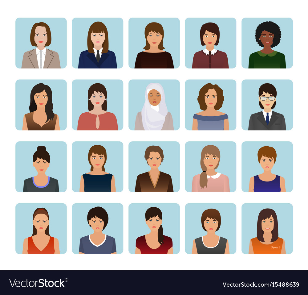 Avatars characters set of different kind women