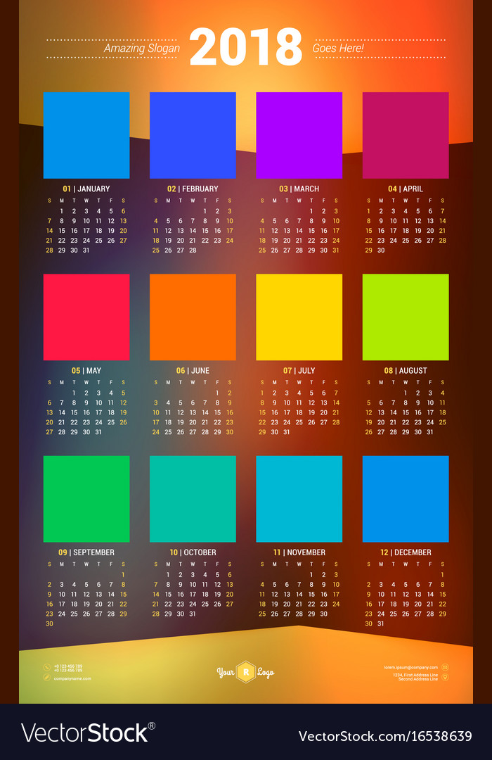 calendar poster template for 2018 year week vector image