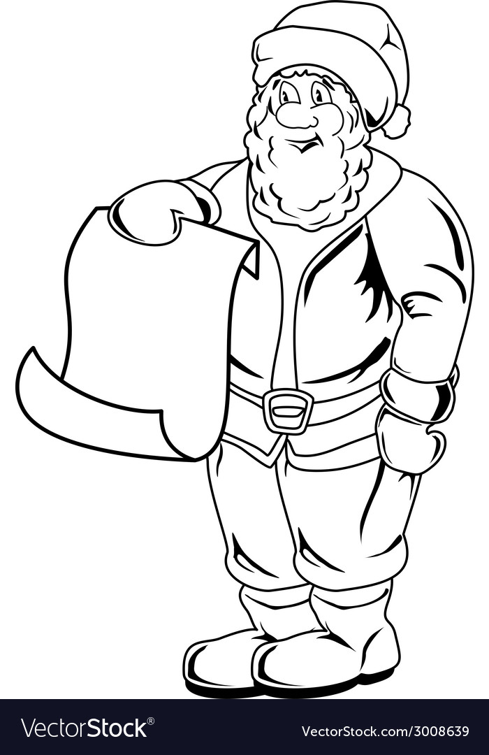 Cartoon Santa Claus Blank List Page vector image