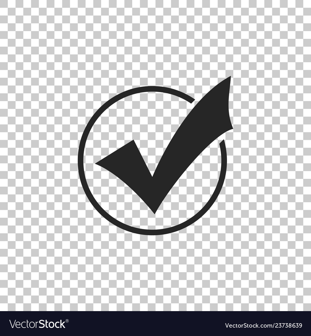 Check mark in round icon isolated
