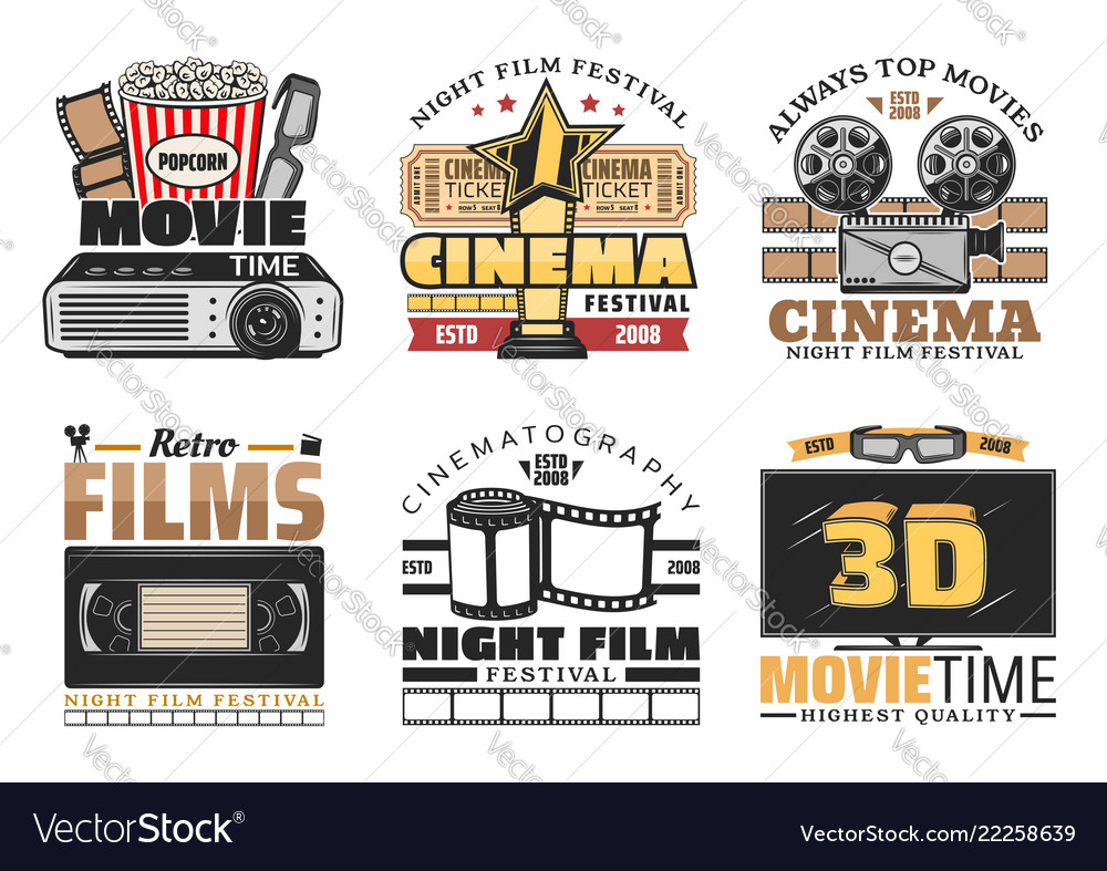 Cinema movie and festival retro icons