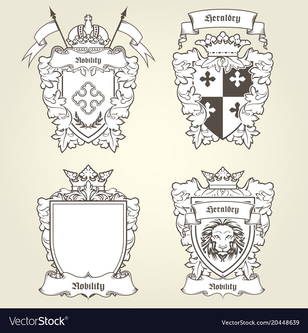 Coat arms and blazons - heraldic shields