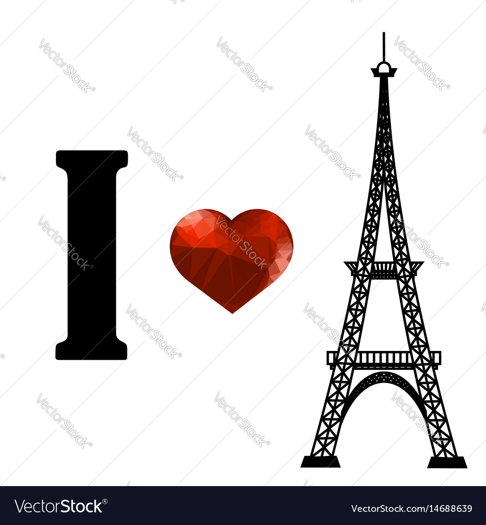 Eiffel tower silhouette and red polygonal heart vector image