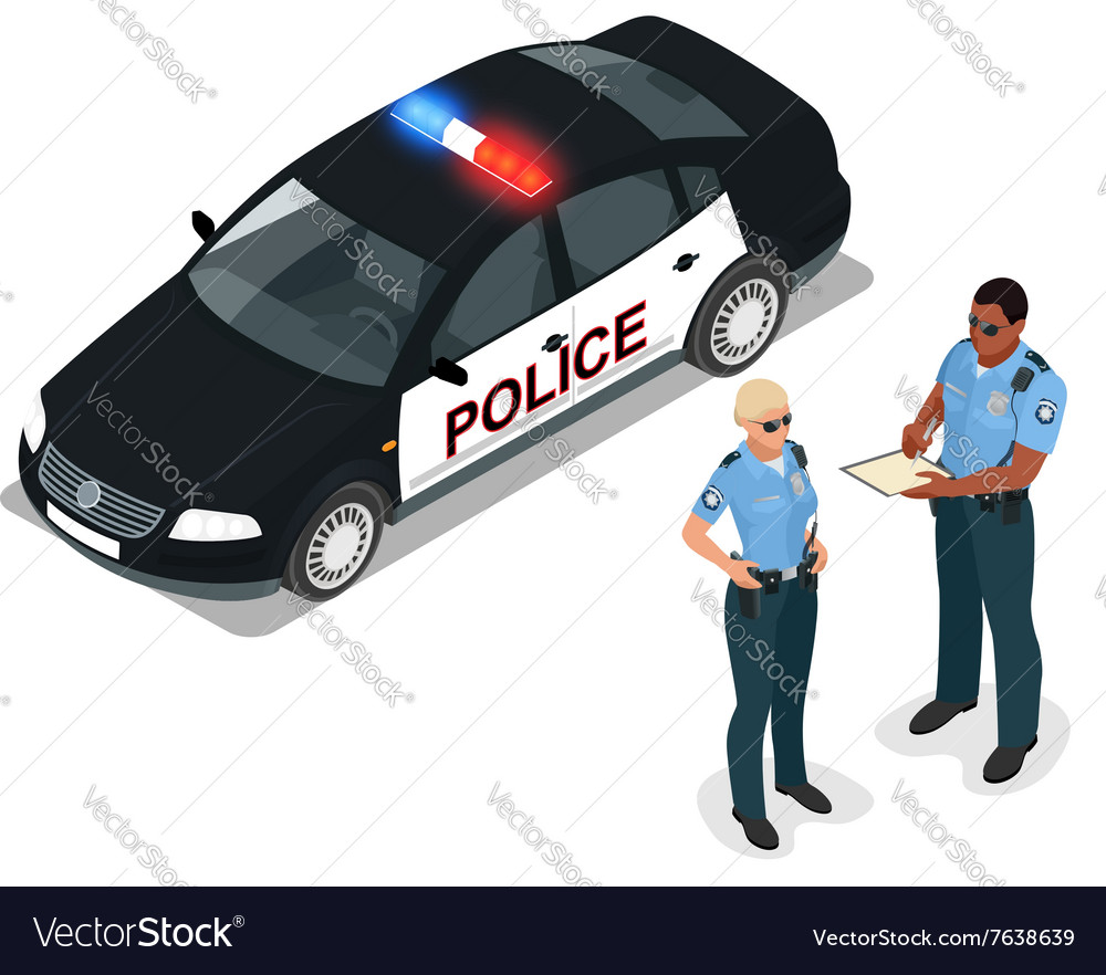 Flat 3d isometric police car and