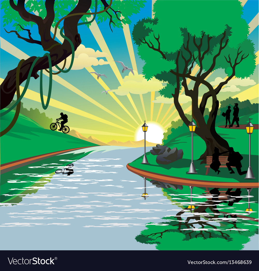 Landscape - people in the park by the river vector image