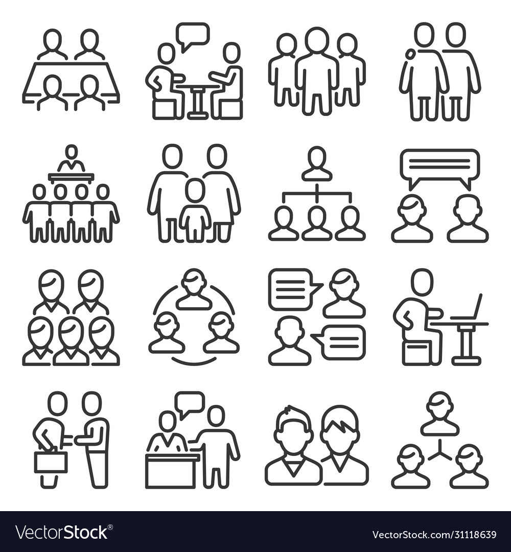 Meeting icons set on white background line style