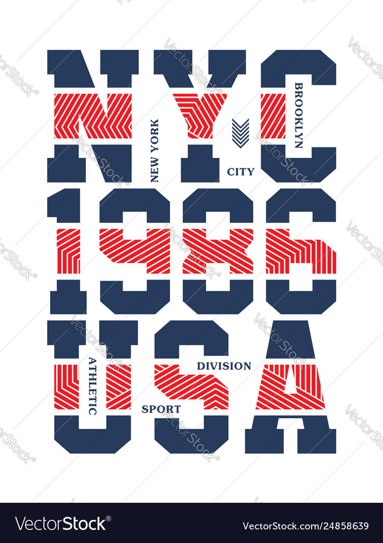 Nyc 1986 usa typography design vector