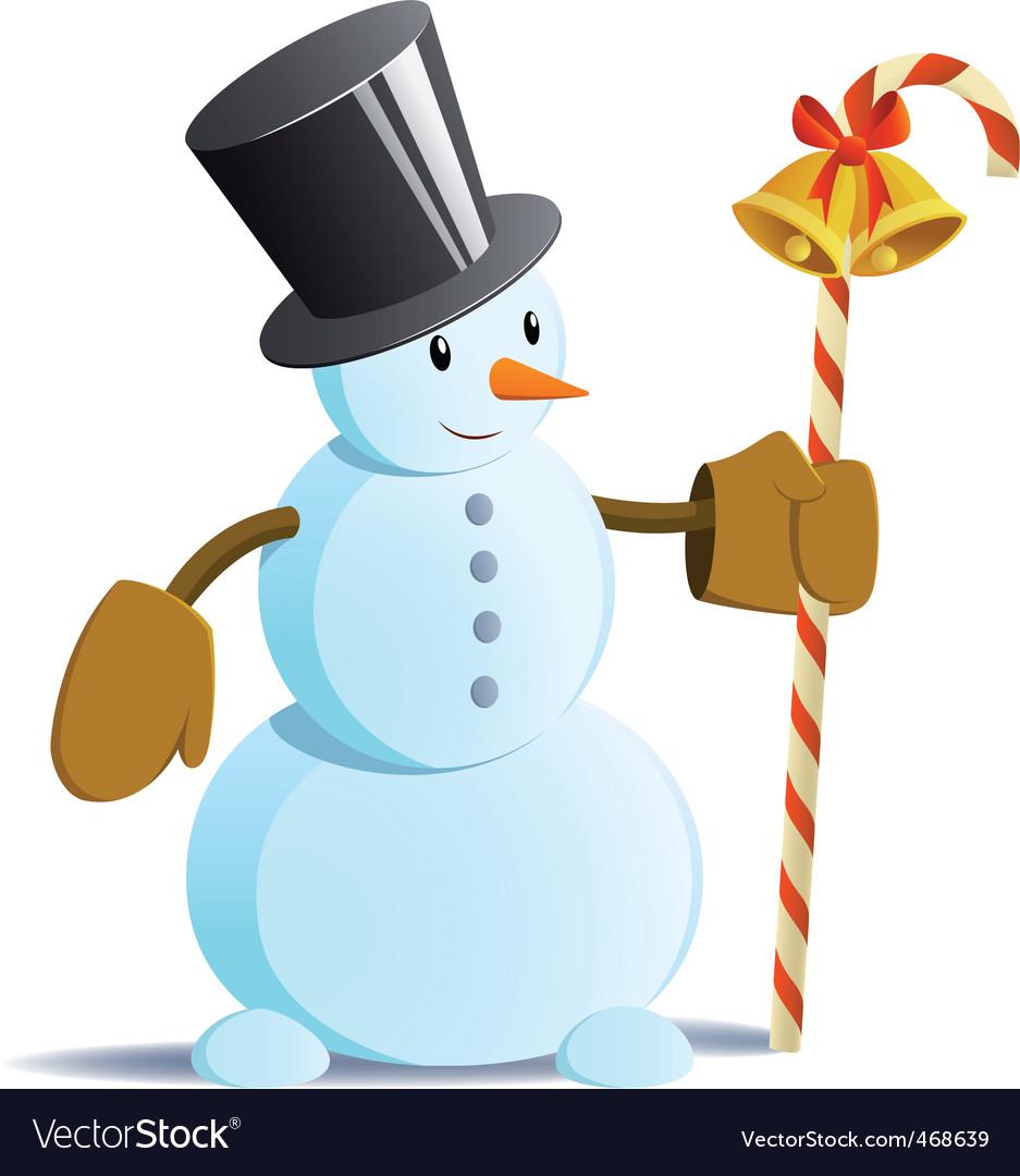 Snowman in black tall hat