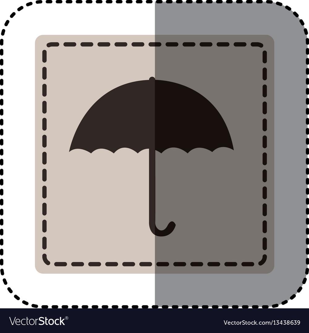 Sticker monochrome square with umbrella
