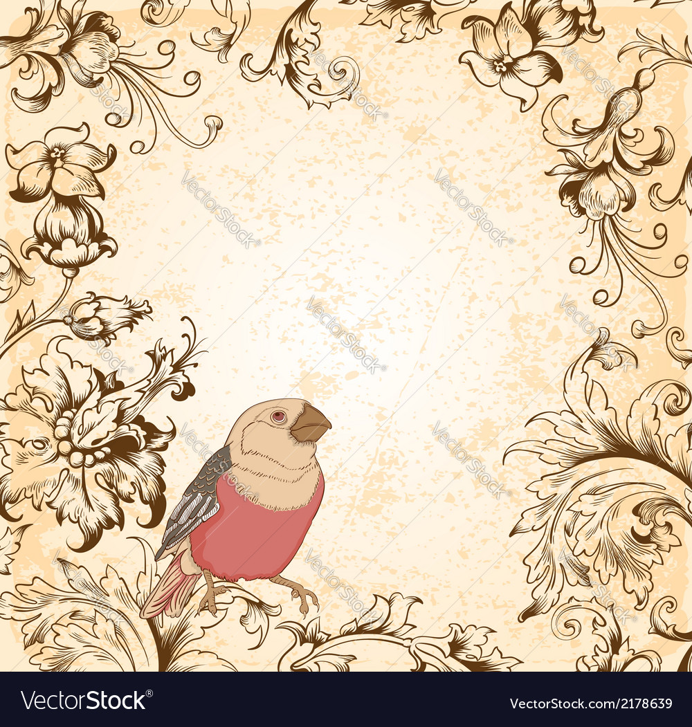 Victorian Floral Background With Bird Royalty Free Vector