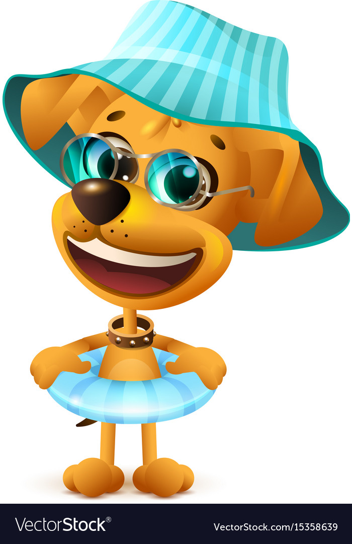 Yellow dog in hat and with swimming circle