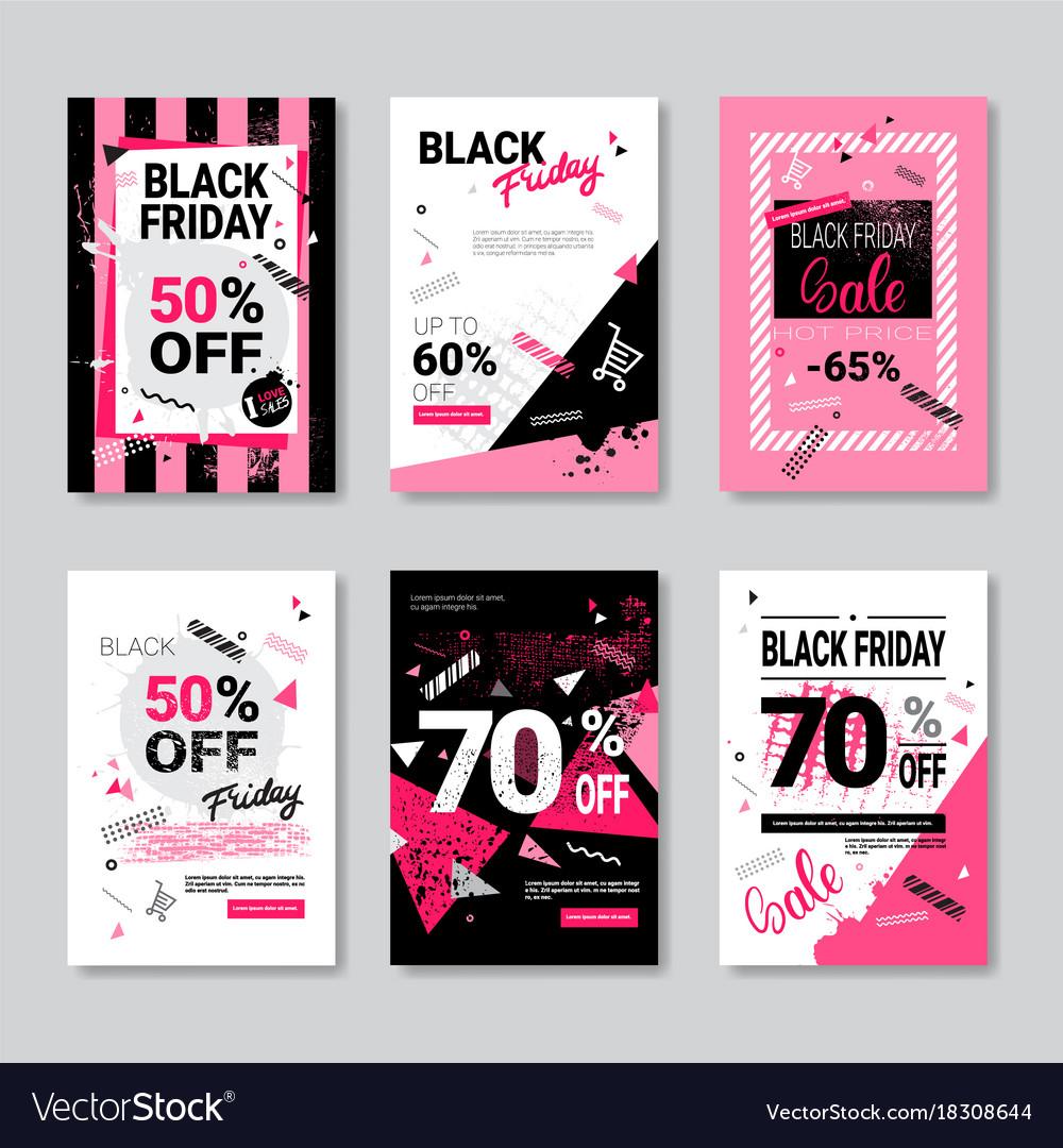 97e44d909e Black friday sale banner set pink posters Vector Image