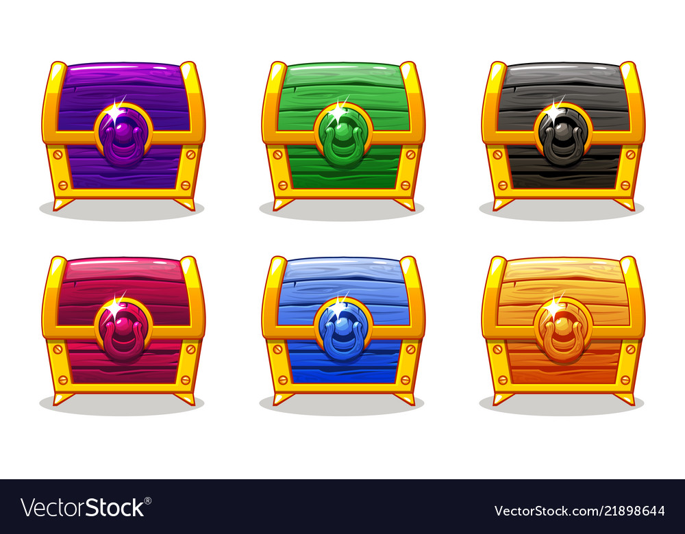 Closed colored wooden chest for ui game