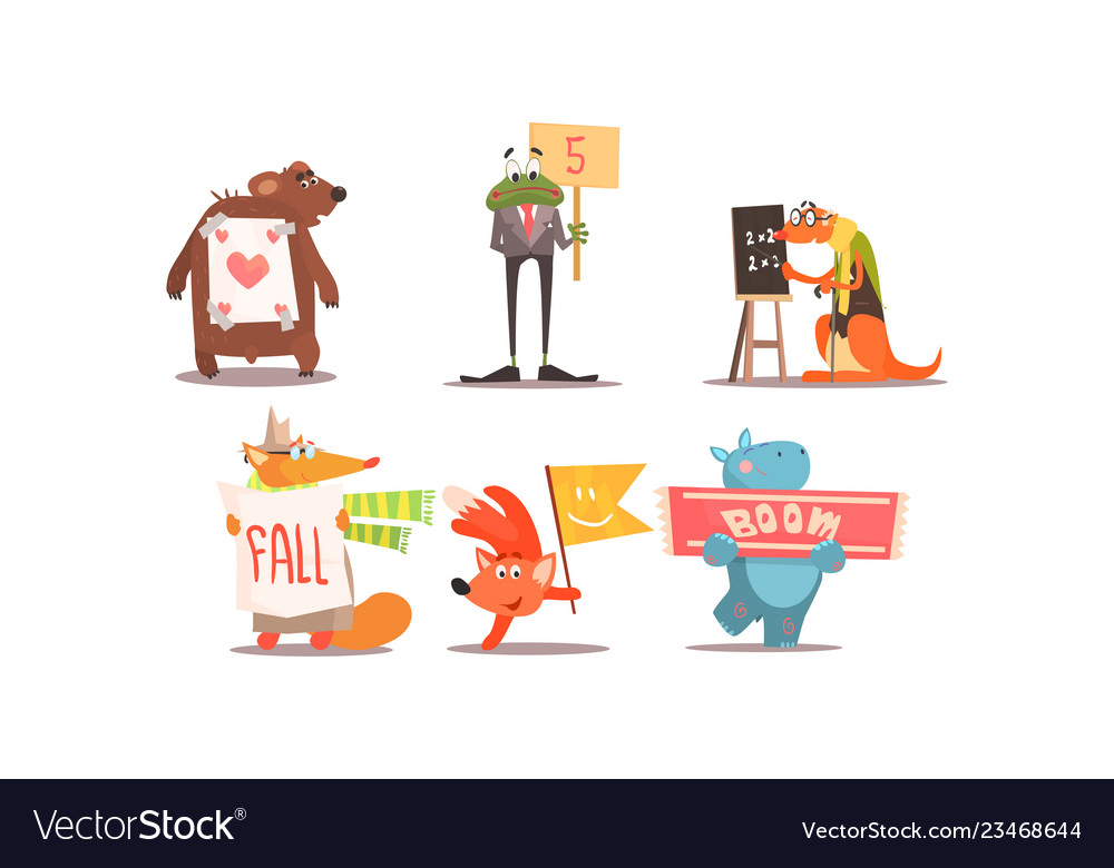 Cute humanized animals set funny animals with