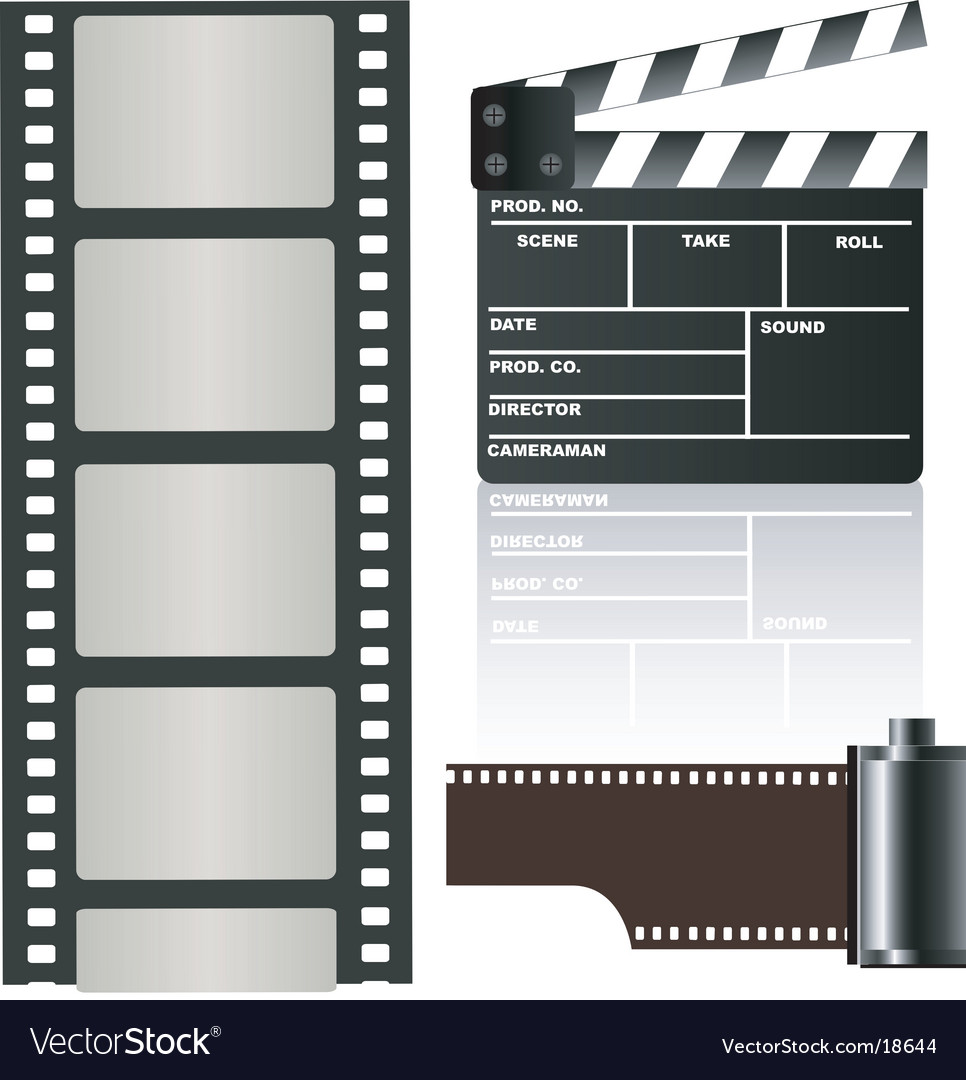 Film negative and clapboard vector image