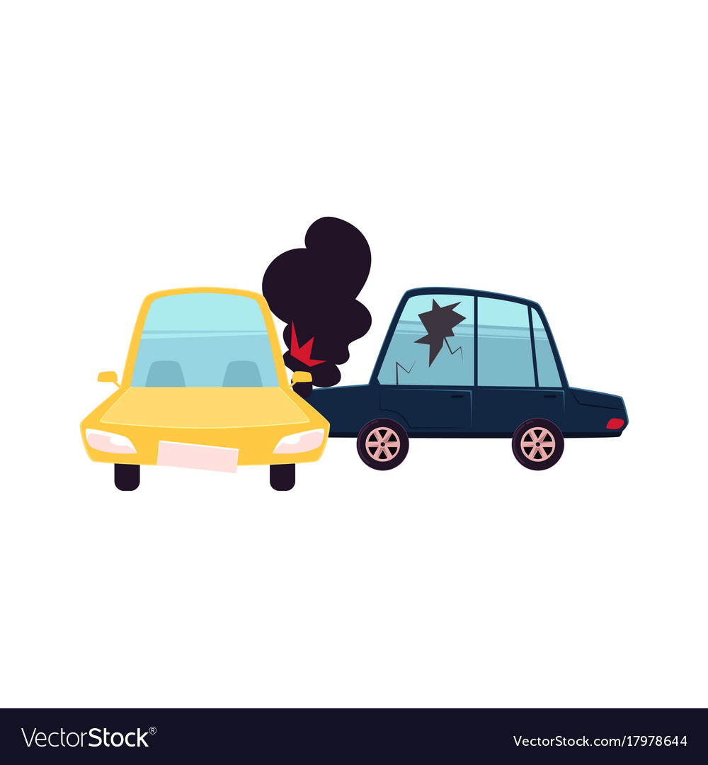 flat cartoon car crash accident isolated vector image rh vectorstock com cartoon car crashing cartoon car crashing