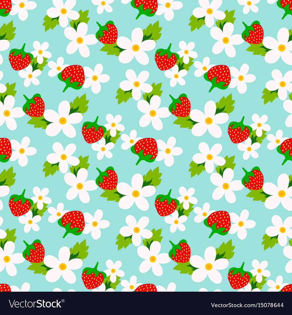 Floral seamless pattern with strawberry