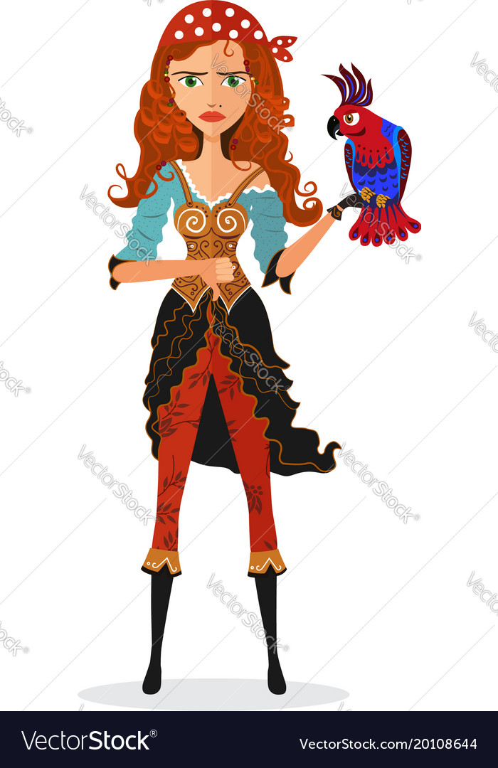 Frowning pirate cheerful girl with parrot strict vector image