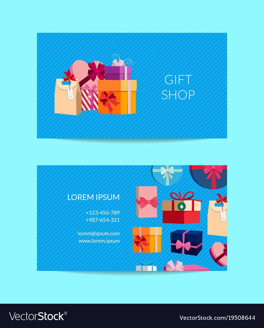 Gift service shop business card template vector image colourmoves