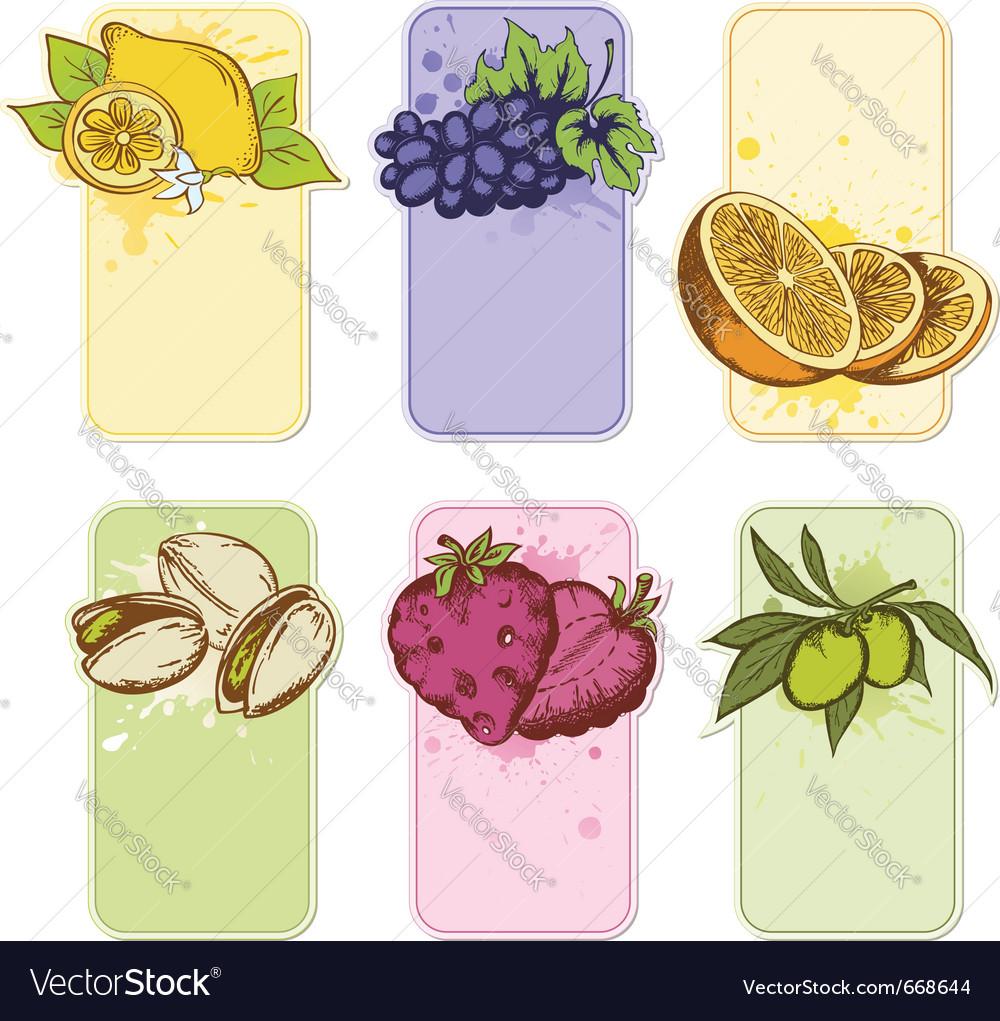 Set of hand drawn fruit labels