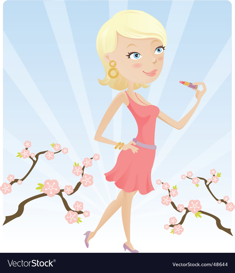 Spring lip gloss vector