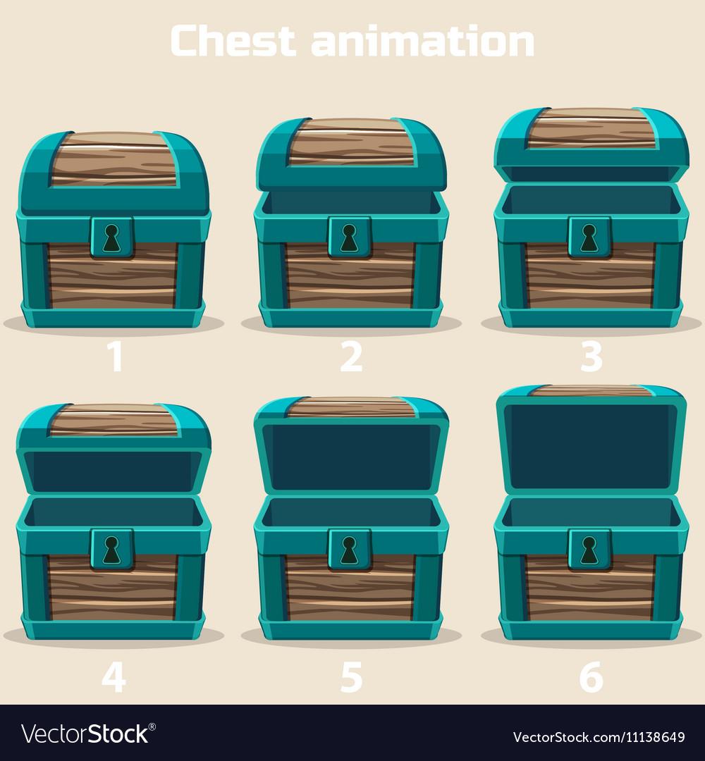 Animation wood treasure chest