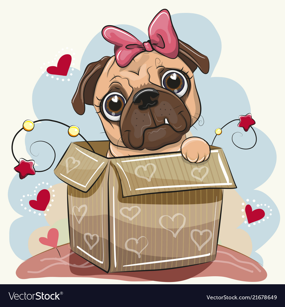 Birthday Card With A Cute Cartoon Pug Dog In The Vector Image