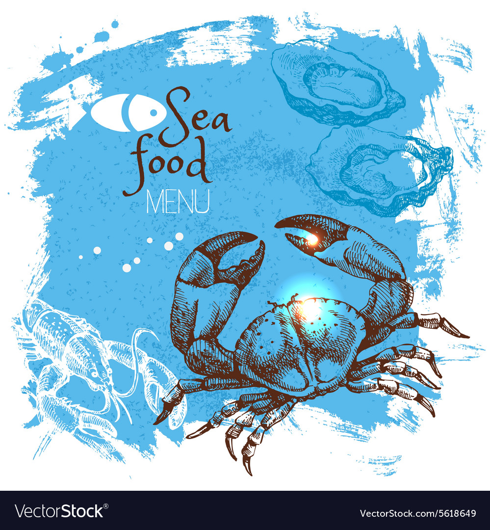 Hand drawn sketch seafood Sea