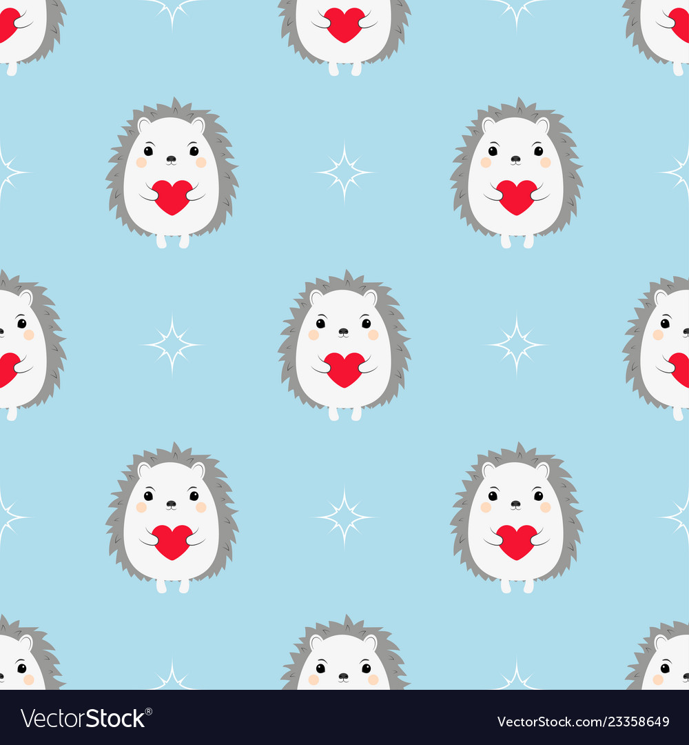 Hedgehogs with hearts seamless pattern