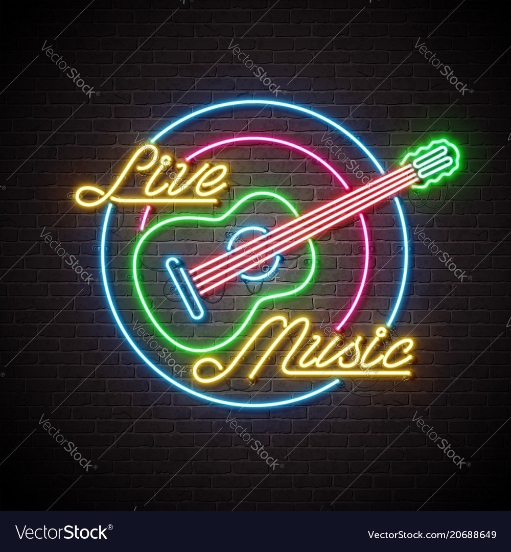 Live music neon sign with guitar and letter on