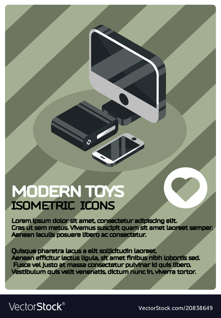 Modern toys color isometric poster