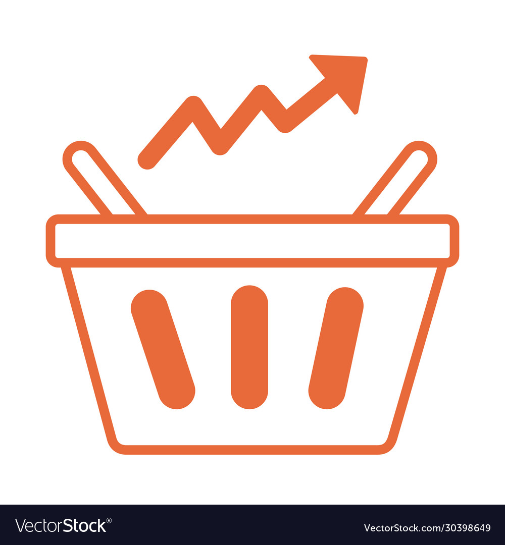 Price hike shopping basket with arrow up