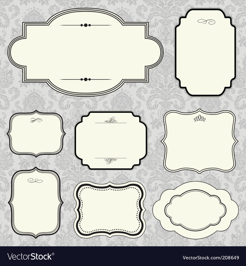 Rounded frame set and pattern vector image