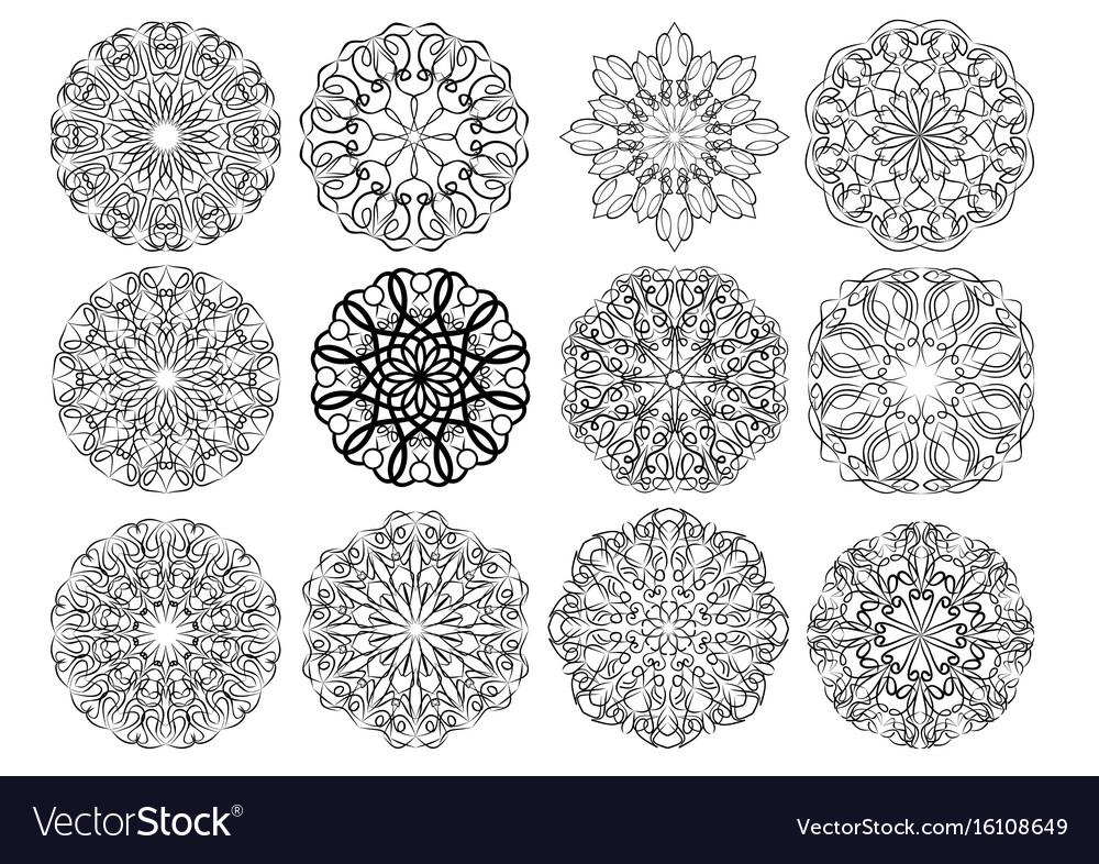 Set of elegant calligraphic circular lace design