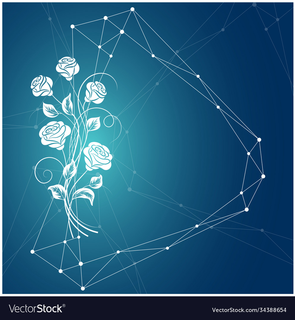 Beautiful bouquet white rose on blue background