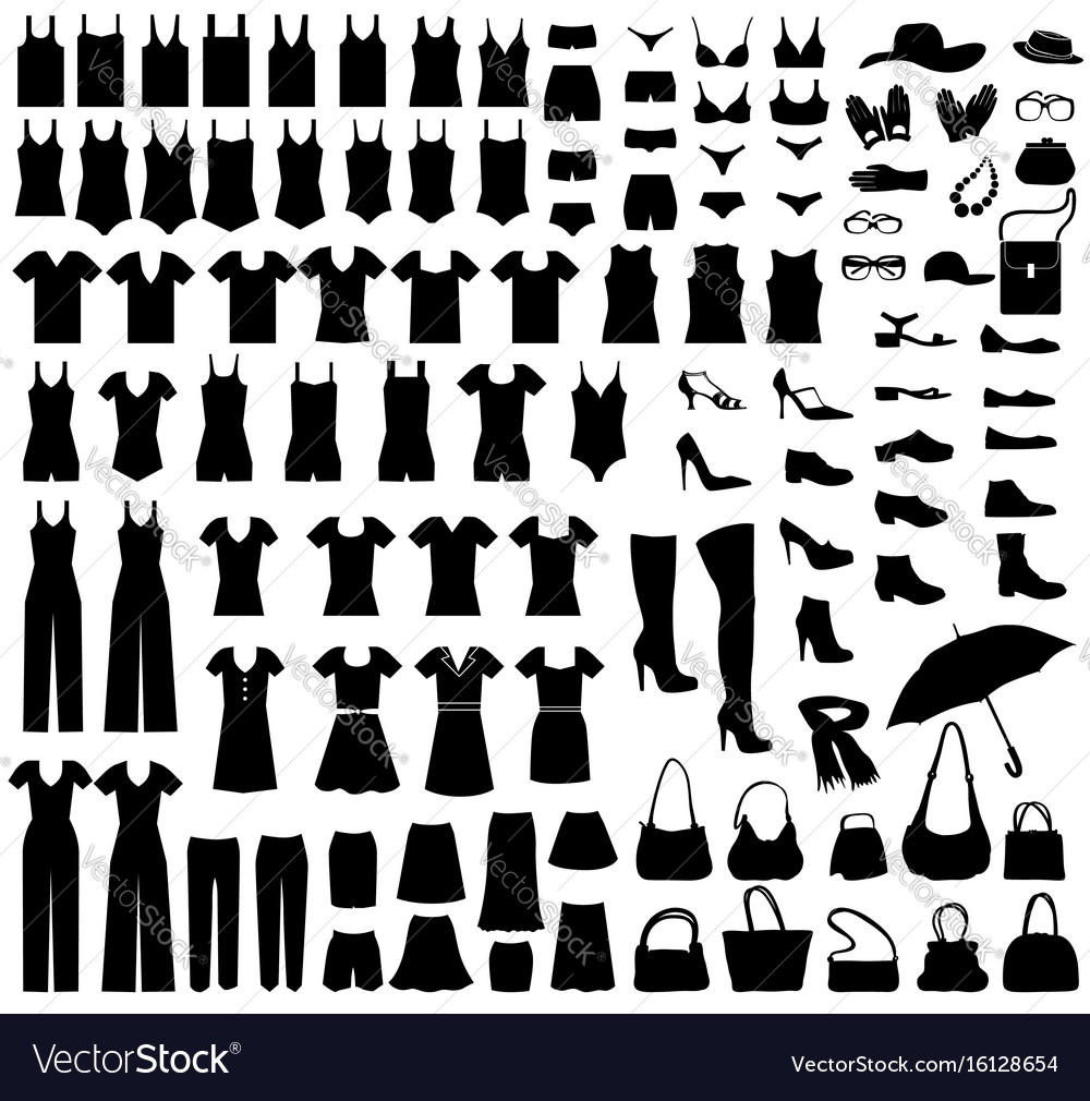Fashion icons set female cloth dress boots vector image