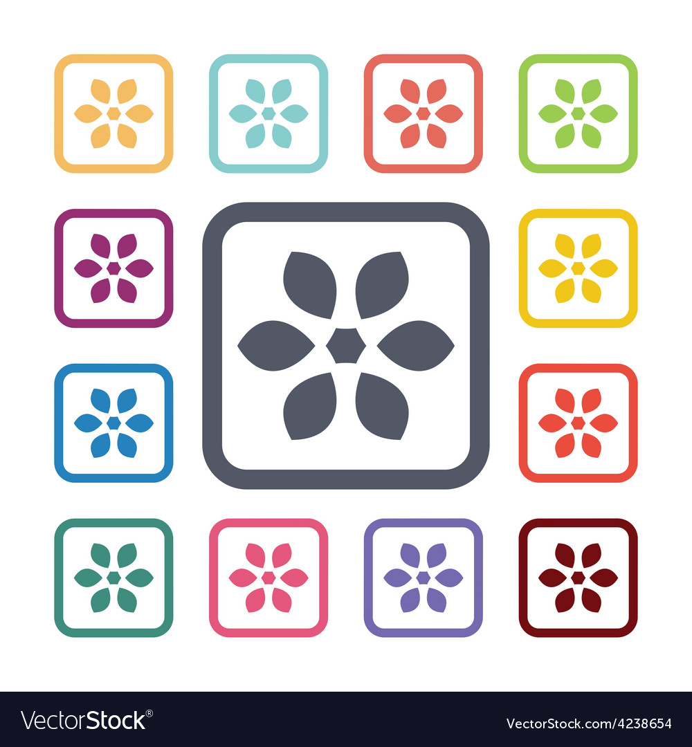Flower flat icons set vector