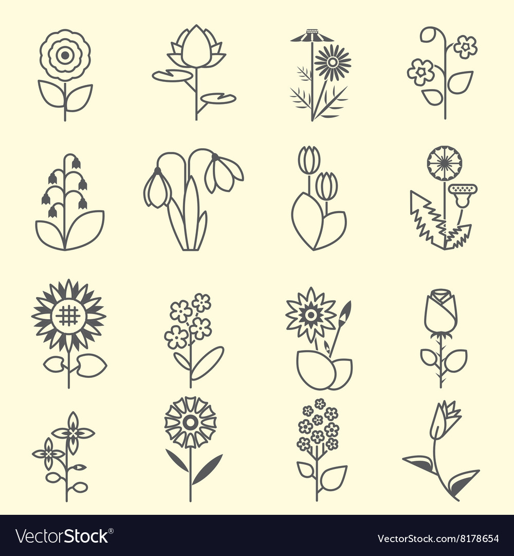 Flowers - set of isolated black line icons