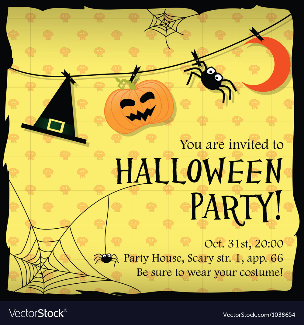 Halloween party invitation card with moon spider vector image stopboris Images