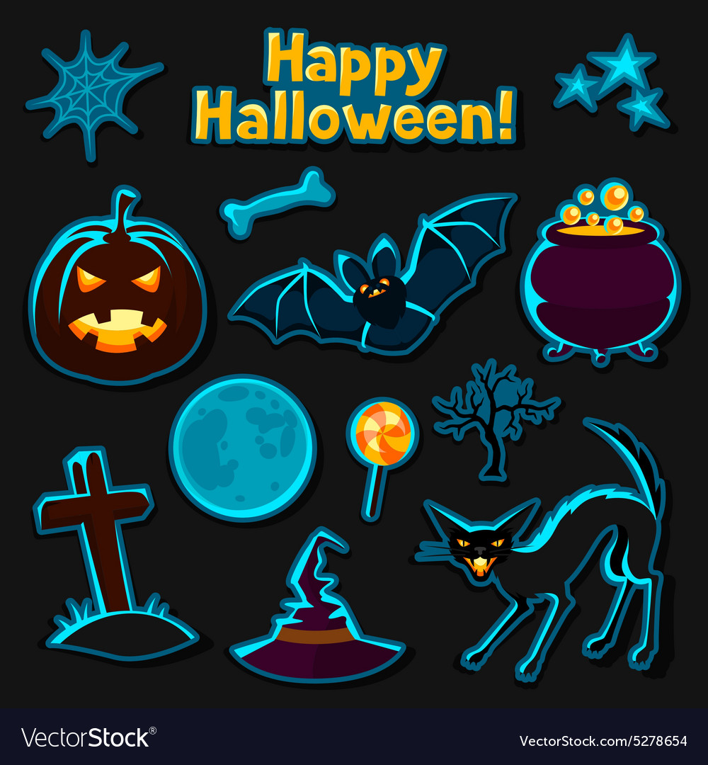 Happy halloween sticker set with characters and
