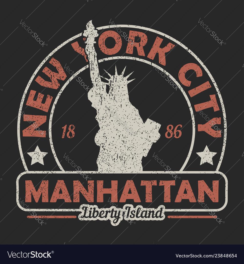 New york the statue of liberty grunge print