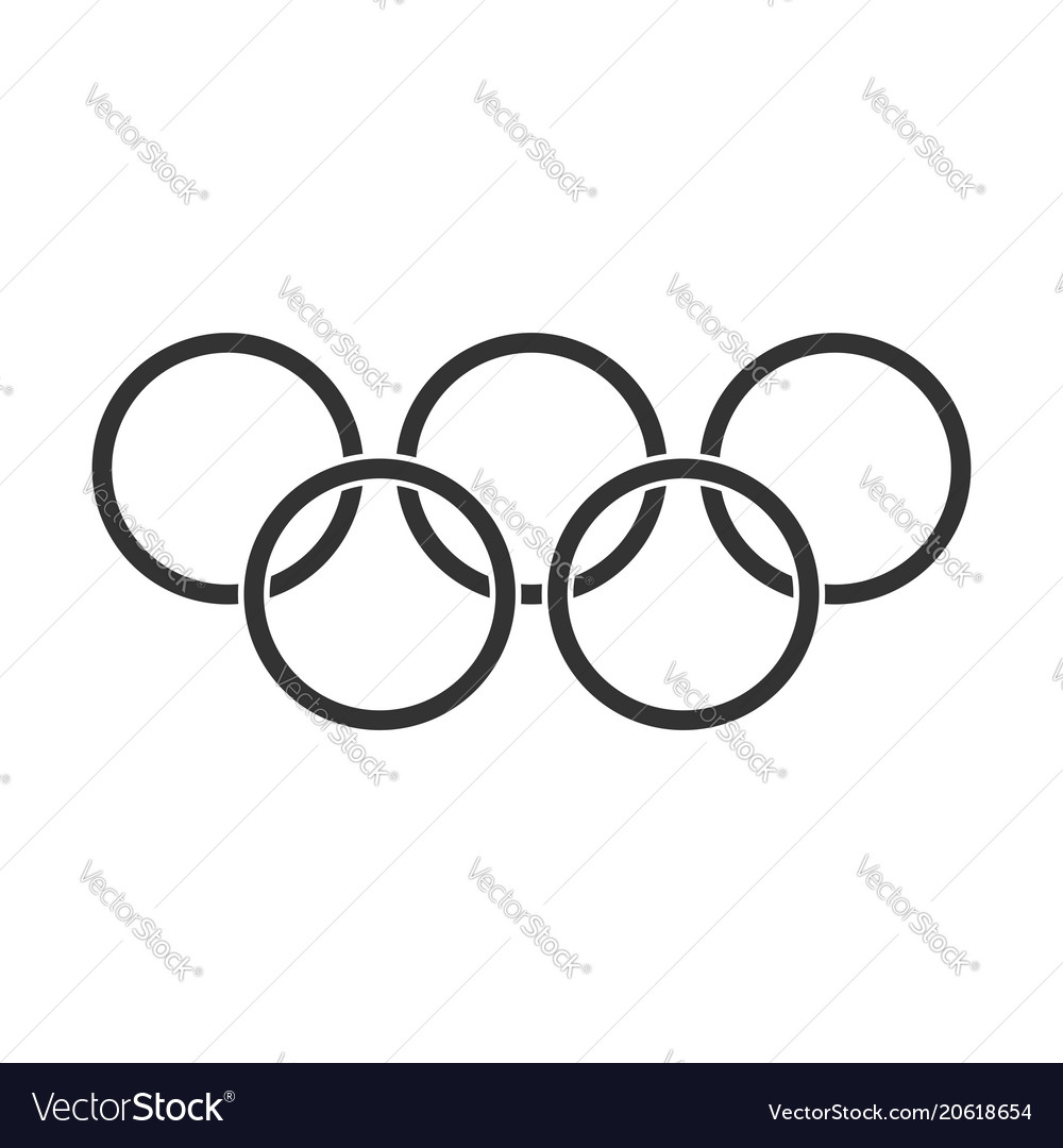 Olympic games rings icon in flat style olympiad
