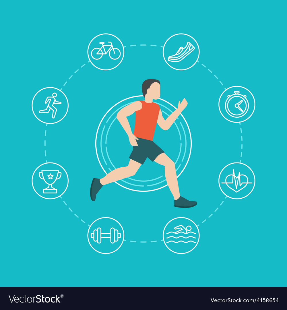 Running and jogging infographics concept