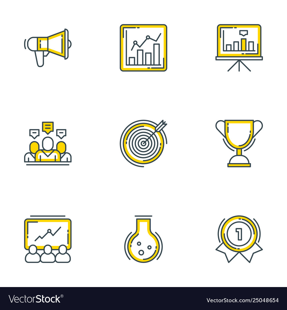 Set 9 flat line business icons flat line