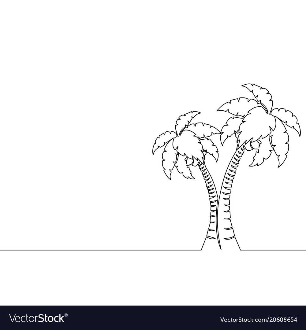 Single continuous line art palm tree line drawing