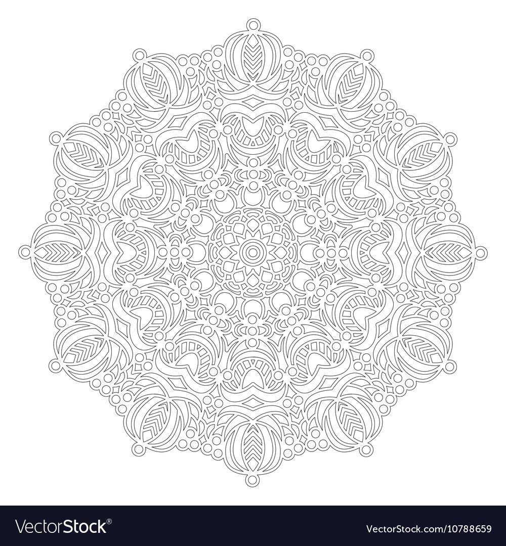 Adult coloring book floral mandala black and white