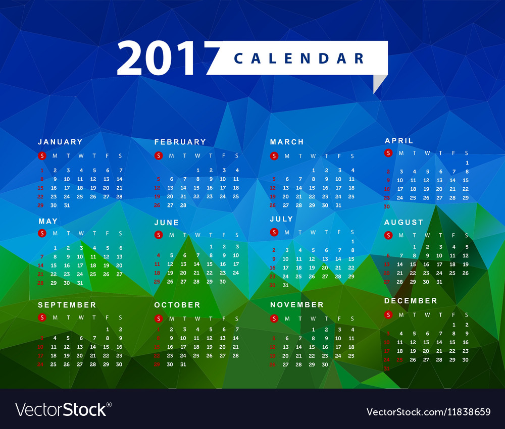 Calendar for 2017 year Week starts from Sunday
