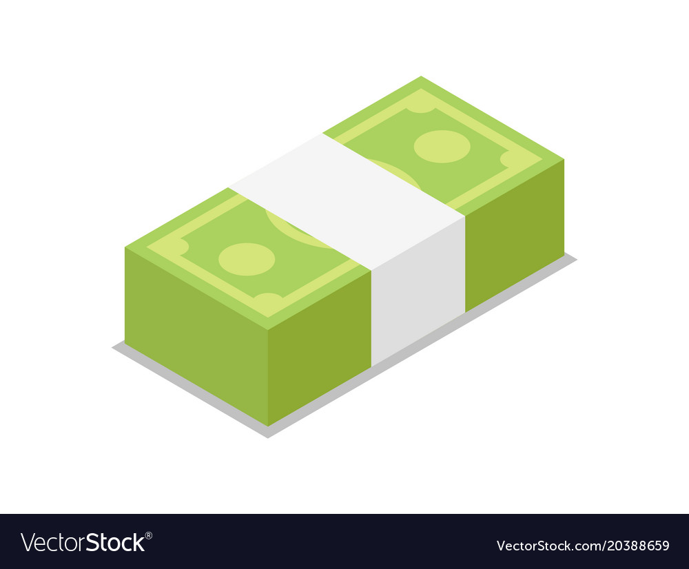 Cash bundle isolated isometric 3d icon vector image