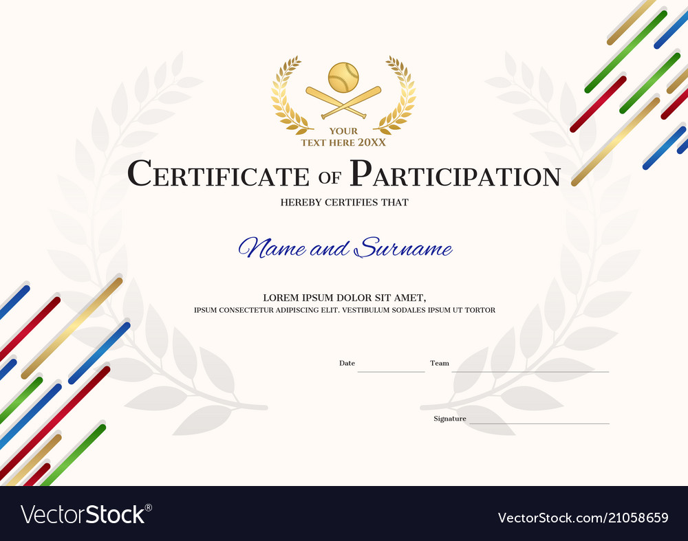 Certificate template in baseball sport theme with