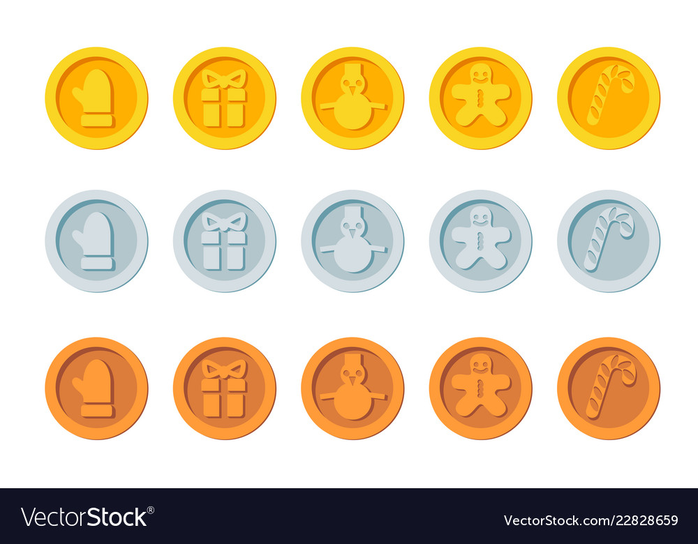 Cryptocurrency logo set for christmas fairs and